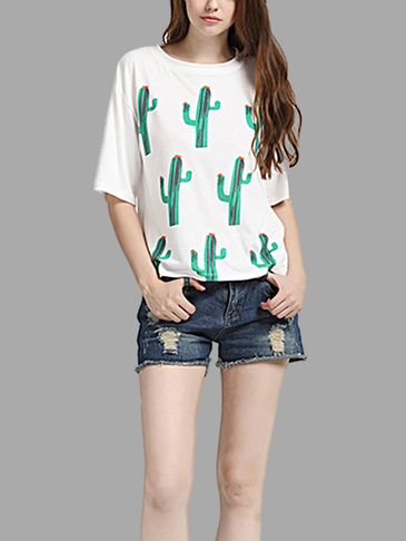Casual Loose Cactus Pattern T-shirt with White Color