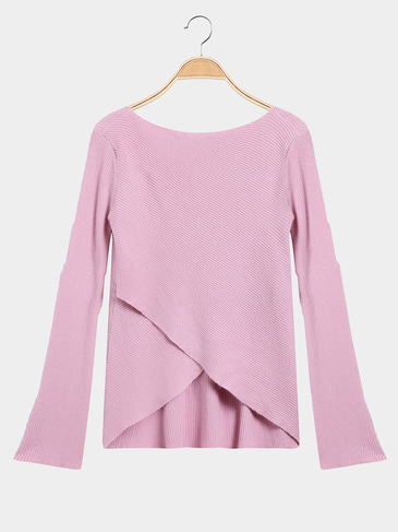 Pink Wrap Front Irregular Hem Long Sleeves Knitwear