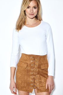 Camel Front Lace-up A-line Mini Skirt With Back Zip