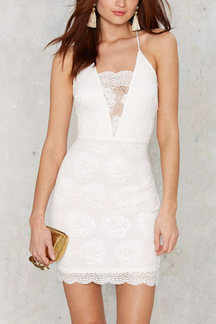 Back Cross Lace Mini Dress