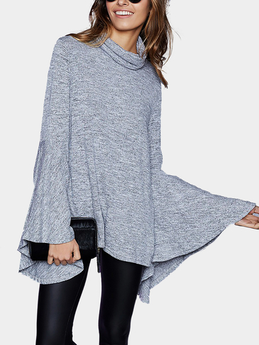 Grey Flared Sleeves Split Top With Roll Neck
