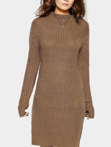 Brown Fashion High Neck Long Sleeves Casual Dress