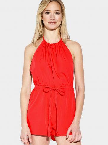 Orange Halter Drawstring Waist Open Back Playsuit