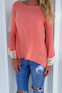 Watermelon Red Casual Lace Details Lace-up Back Blouse