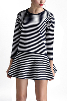 Dark Blue Stripe Knitted Long Sleeve Jumper and Mini Skirt