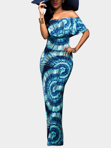 Fantasy Colour Pattern Off Shoulder Bodycon Maxi Dress