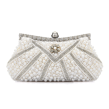Jewelled Clutch Bag in White