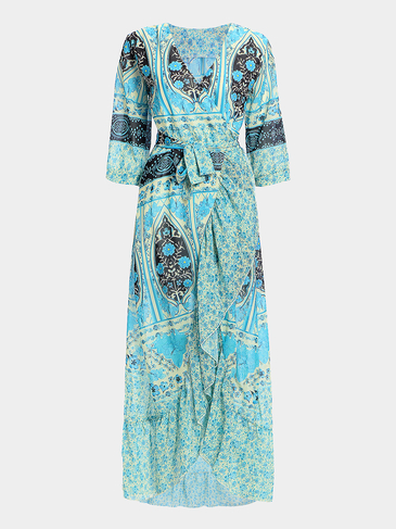 Boho Plunge Slit Random Floral Print Wrap Long Dress