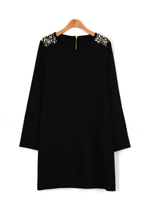 Plus Size Black Long Sleeve Shoulder Beaded Dress in British Style
