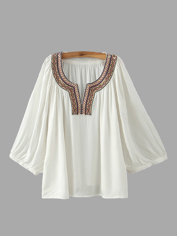 Embroidery Round Neck Blouse