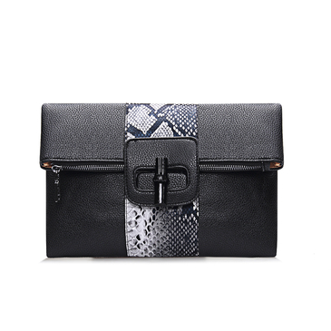 Snake Effect Fold Over Clutch Bag