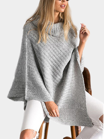 Oversized Roll Neck Plain Color Irregular Hem Cape in Grey