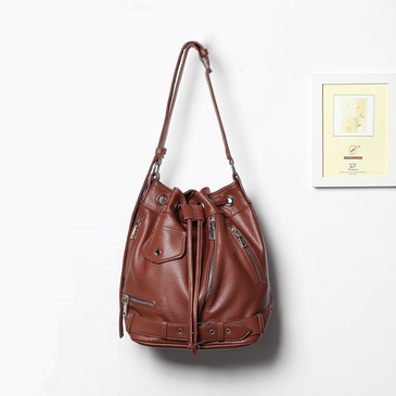 Brown Drawstring Closure Shoulder Bag with Zipper Pocket