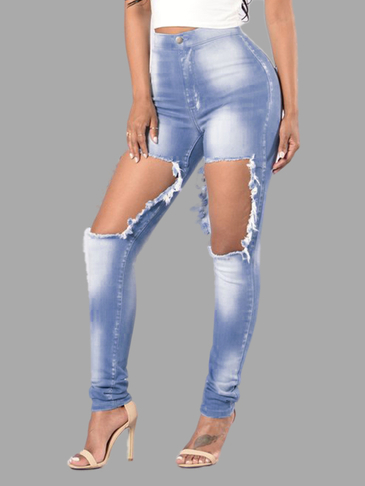Blue Skinny High-waist Elastic Ripped Jeans