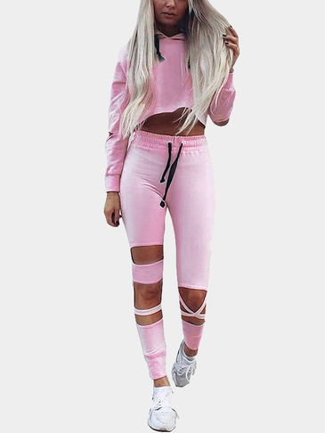 Pink Casual Hooded Cropped Co-ords with Hollow Details