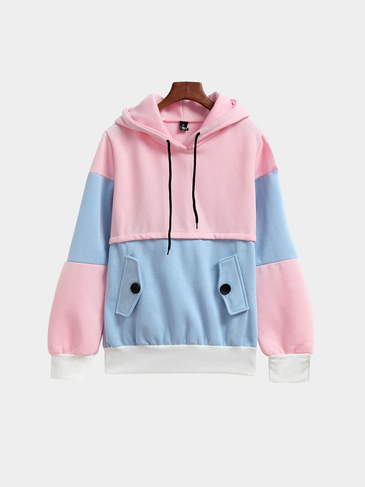 Splicing Color Long Sleeves Hoodie