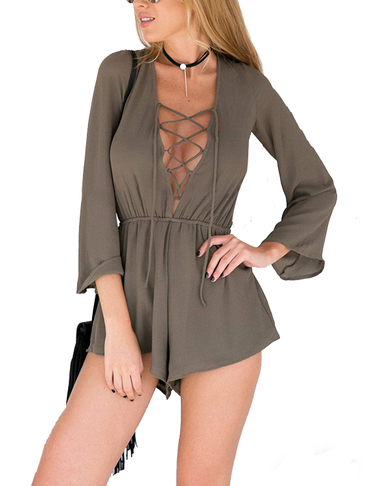 Lace-up Hollow Out Elastic Waist Long Sleeves Playsuit