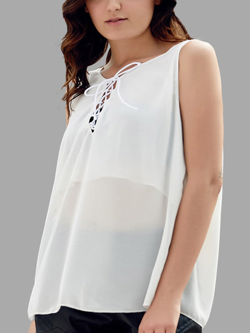 White Crossed Straps Lace-up Chiffon Vest