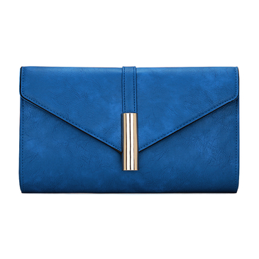 Metal Bar Leather-look Envelope Clutch Bag in Blue with Shoulder Strap