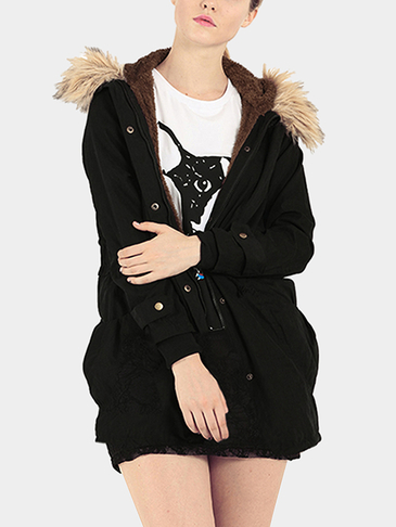 Black Drawstring Waist Loose Padded Outerwear with Hood