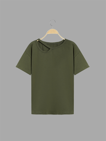 Casual Plain Army Green Single Strap T-shirt