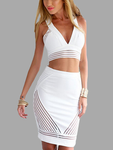 Plunge V-neck Crop Top & Midi Skirt Co-ord