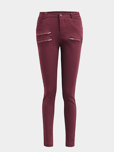 Red Casual High-waisted Ripped Bodycon fit Trousers