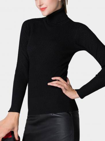 Black Hollow Out High Neck Jumper