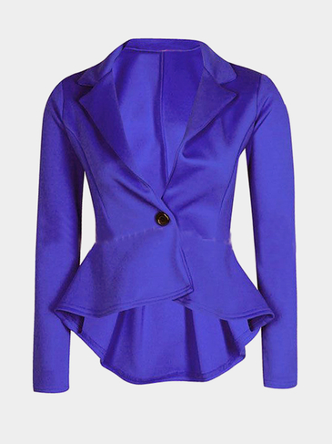 Blue Single Button Blazer with Irregular Hem
