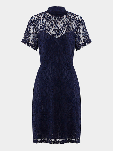 Plus Size High Neck Lace Dress
