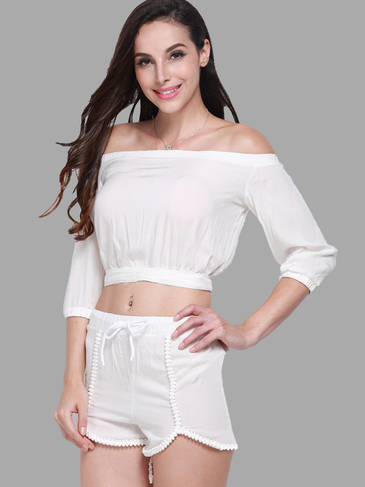 White Off Shoulder Elastic Co-ord Set