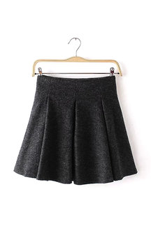 Grey High-Waisted Pleated Mini Skirt
