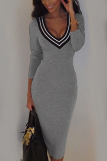 Grey Sexy V-neck Stripe Detail Midi Dress