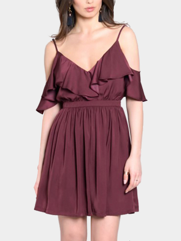 Cold Shoulder Backless Ruffled Mini Dress