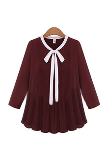 Plus Size Wine Bow Drawstring Chiffion Blouse