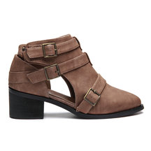 Brown Fashion Cut Out Block Heel Ankle Boots