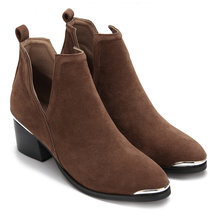 Dark Brown Cut Out Block Heel Ankle Boots