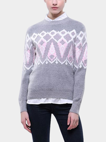 Grey Geo-Tribal Sweater
