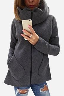 Dark Grey High Neck Zipper Closure Causal Sweatshirt