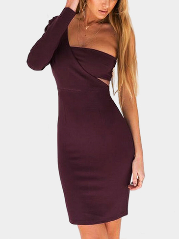 One Shoulder Plain Color Cut Out Zipper Back Causal Dress