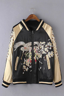 Floral And Animal Embroidery Bomber Jacket