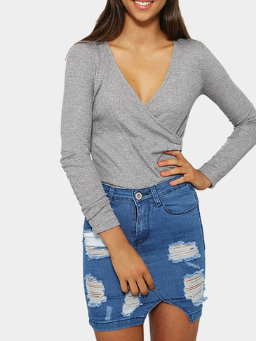 Grey Wrap Front Top In Knit