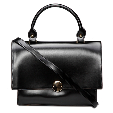 Black Fashion PU Leather Handle Bag