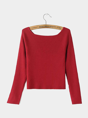 Off Shoulder Knit Top in Red