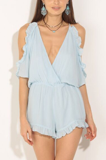Semi Sheer V-neck Cold Shoulder Flounced Hem Playsuit
