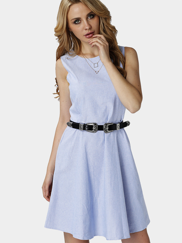 Round Neck Sleeveless Casual Style Mini Dress