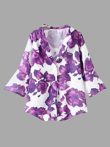Purple Floral Priint 3/4 Length Sleeve Collar Shirt