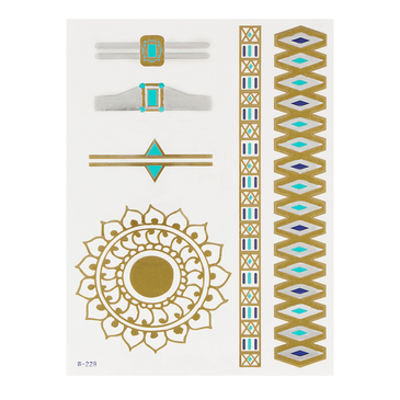 Flower Bangle and Ring Pattern Metallic Temporary Tattoo Sticker