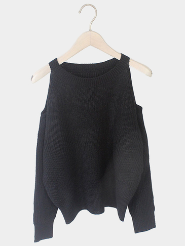 Black Cold Shoulder Long Sleeves Sweater