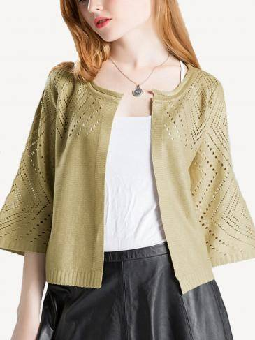 Hollow-out Gold Foil Stamping Knitted Cardigan in Gold